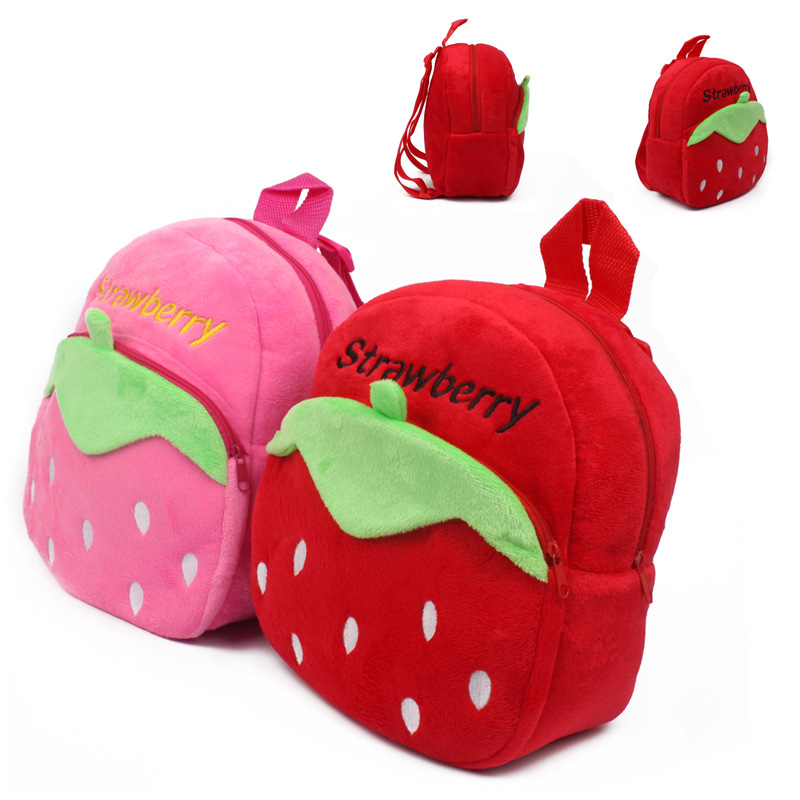 Cartoon pink/red strawberry pattern plush backpack school bag baby cute mini candy bags for kindergarten boy girl cute girl s sandals with colour block and cartoon pattern design