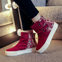 New 2016 Spring Autum Color Block Flag Women's Platform Canvas Shoes Thick Heel Ankle Boots Women Flat Short Boot