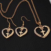 U7 Новый романтический сердце Крест Желтый Позолоченные Горный Хрусталь Колье Ожерелье Серьги Для Женщин Ювелирные Наборы S599