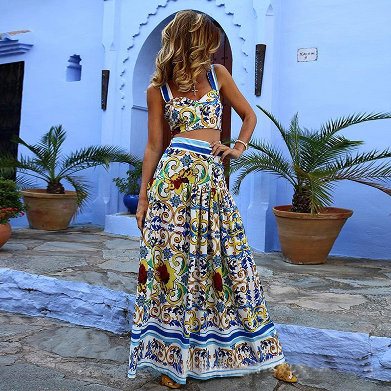 Print Vintage Summer Dress Women Sexy Spaghetti Straps Boho Dresses Long Two Piece Plus Size Vestido De Festa