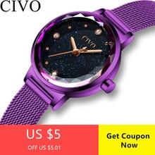 CIVO nueva moda mujer relojes cielo estrellado de lujo del diamante de la correa de malla de reloj impermeable cuarzo pulsera Montre Femme