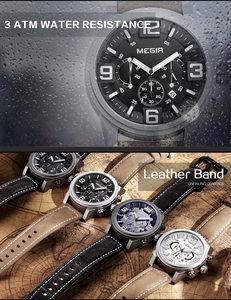 Image 3 - MEGIR Date Chronograph Wrist Watch Top Luxury Brand Mens Military Sport Army Clock Men Male Classic Quartz Watches Gift Box 3010