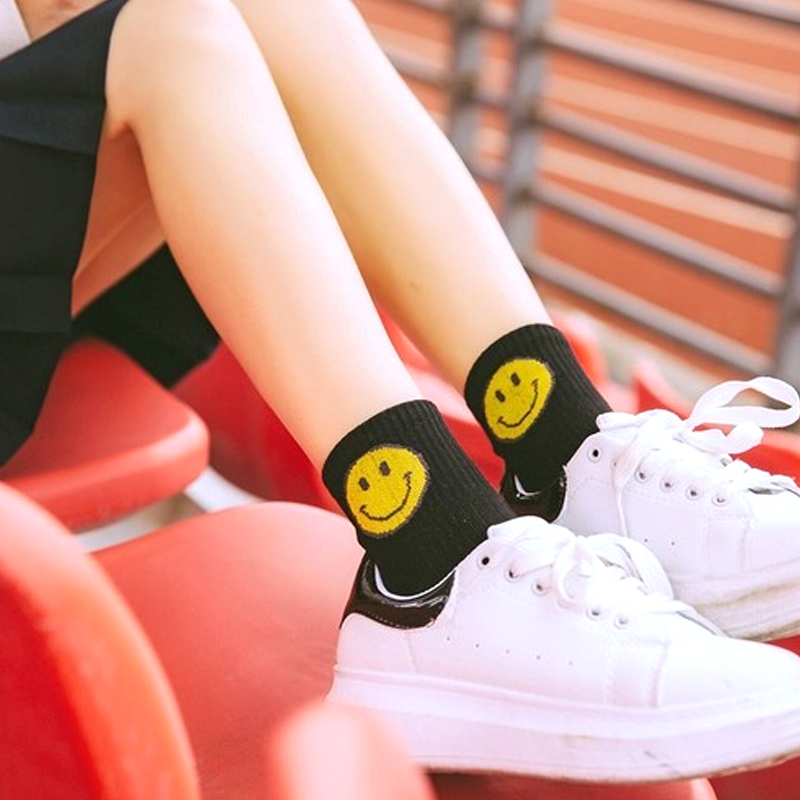 New Arrival Fashion 5 Colors Women Men Lovely Stripe Smile   Socks   Popular Cotton Comfortable Casual Ankle   Socks   2018 Hot Sale