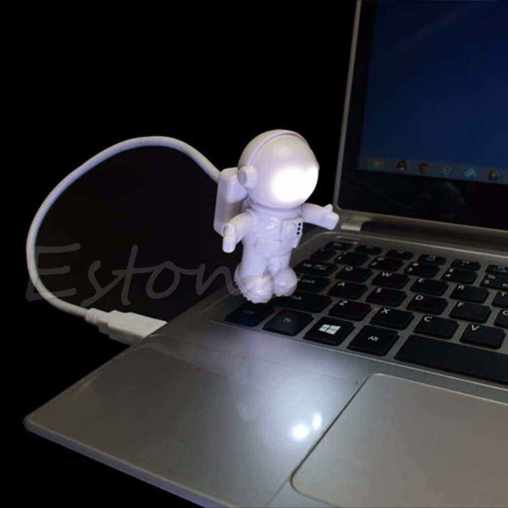 1PC Fantasy Astronaut USB Powered Mini LED White Night Light Bulb for Laptop PC Reading Gift Night Lights