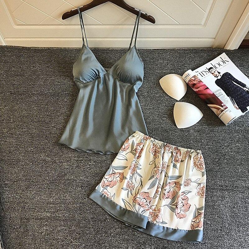 2019 Sleep Lounge Pajamas Set Satin Sleepwear Pijama Women Pyjama Femme Fashion Flower Print Pajamas With Chest Pads