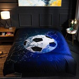 Image 3 - Juego de ropa de cama con impresión de fútbol en 3D, juego de ropa de cama con diseño de baloncesto y béisbol, ropa de cama decorativa para el hogar o el dormitorio