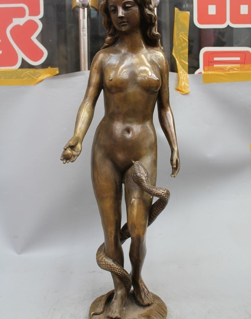 "31 ""Western Art sculpture En Bronze charme belle Nude Beauté et le serpent statue