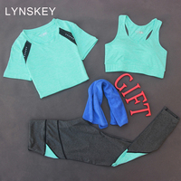 LYNSKEY 3 Pieces Set Women Yoga Sets Gym Sportswear Yoga T Shirt Tops Sports Bra Vest