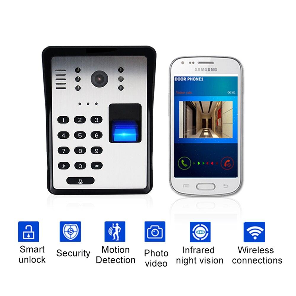 Telefone Da Porta de Vídeo sem fio Wi-fi Inteligente de Vídeo Campainha RFID Senha de Desbloqueio de Impressão Digital IR Campainha Sem Fio Intercomunicador Do Telefone Da Porta