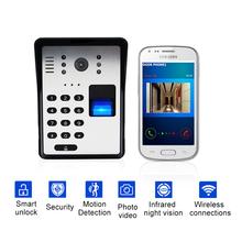 Wireless Video Door Phone Smart Wifi Video Doorbell RFID Password Door Phone Intercom Fingerprint Unlock IR Wireless Doorbell cheap VRUNIQUE TELEPHONE CMOS Depends on your phone Color Zinc Alloy and ABS 5 2x3 7x1 9inch 5V 1A TS-WIFI708ZJ None One Outdoor Camera
