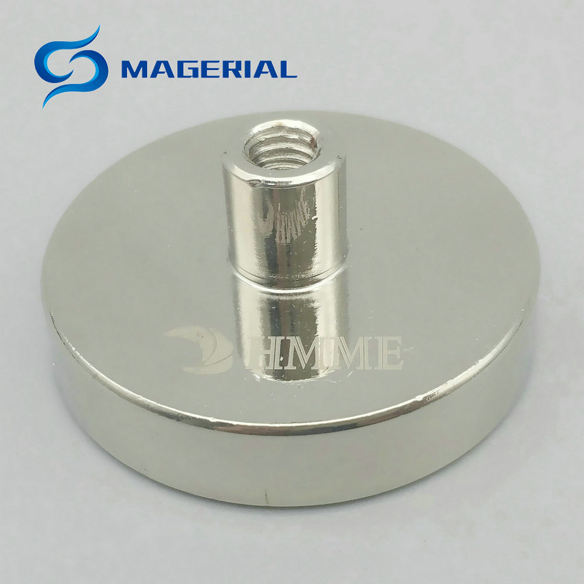 1 Pack Cup Mounting Magnet Diameter 42 mm Lathed Magnetic Pots with Female Thread Neodymium Permanent Strong Holding Magnet 1 pack mounting magnet diameter 12 mm clamping pot magnet with steel hook neodymium lifting magnet strong magnet lathed cup