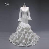 2017 elegant custom made mermaid wedding dress scoop sweep train backless long puffy sleeve tiered lace.jpg 200x200
