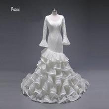 2017 Elegant Custom Made Mermaid Wedding Dress Scoop Sweep Train Backless Long Puffy Sleeve Tiered Lace Bridal Gown Fish