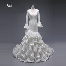 2017 Elegant Custom Made Mermaid Wedding Dress Scoop Sweep Train Backless Long Puffy Sleeve Tiered Lace Bridal Gown Fish