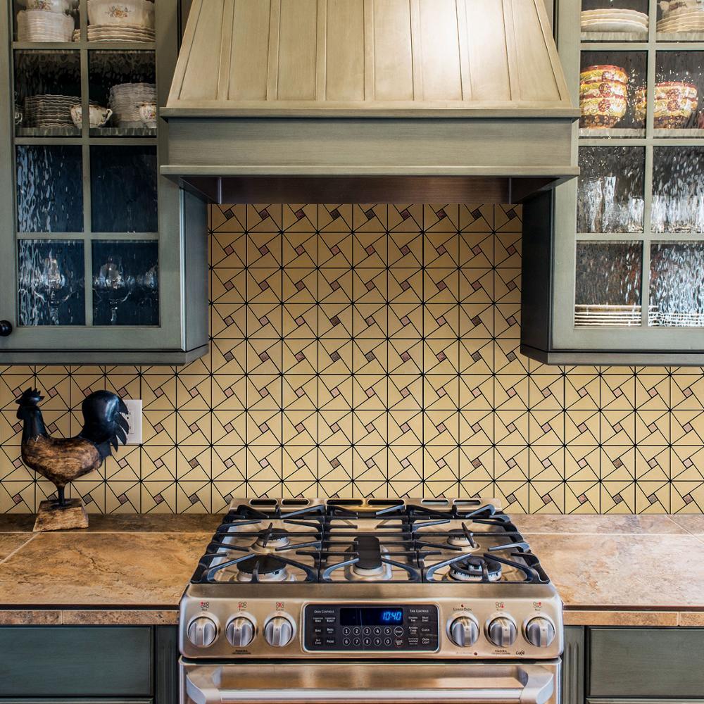 12 pouces bricolage Triangle Puzzle Peel and Stick carrelage métal dosseret pour cuisine poêle murs auto-adhésif 3D mur autocollant 4 Pack/lot