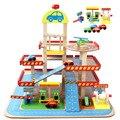 Em estoque Hot Sale Grande casa de brinquedo das crianças role-playing estéreo três camadas conjunto estacionamento pista de carros de brinquedo de madeira crianças brinquedos