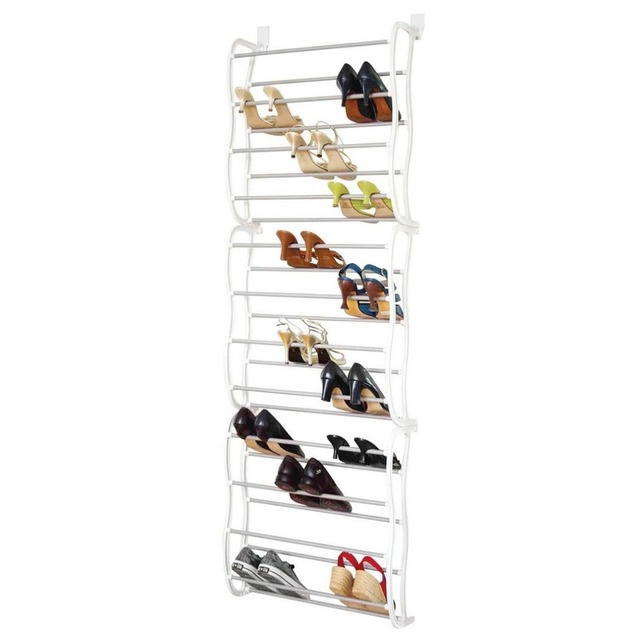 12 Layers 36 Pair Minimalistic Height Adjustable Shoe Holder Organiser Over The Door Hanging Shelf Rack Storage With Hooks