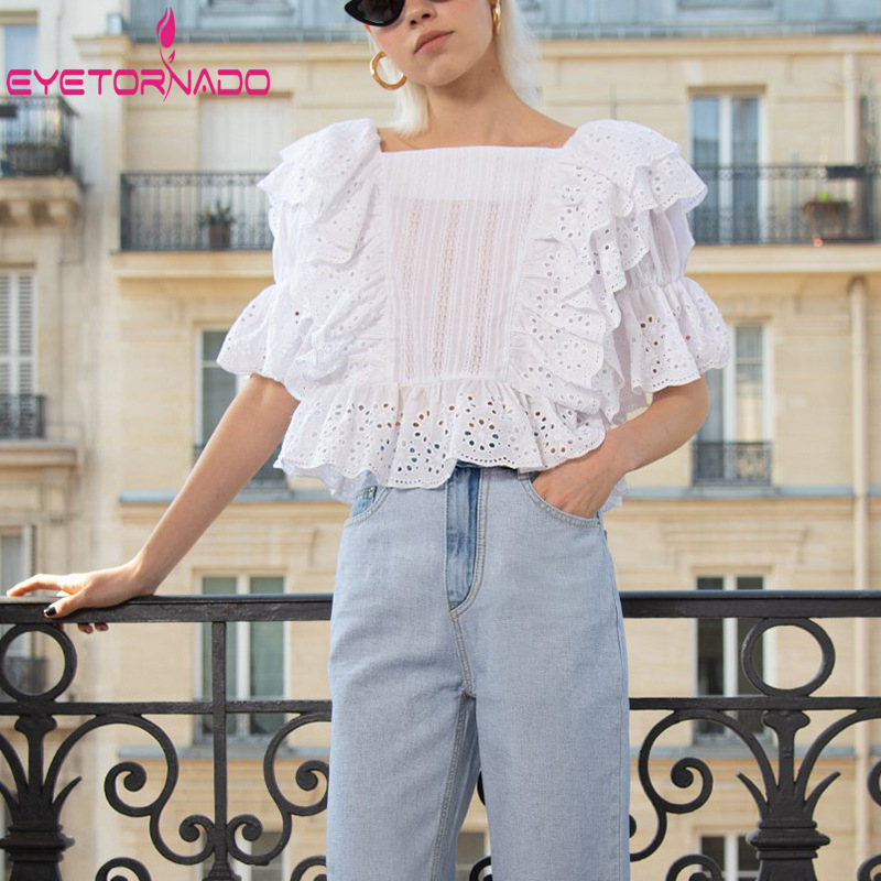 Short Lantern Sleeve Shirt 2019 Women Ruffled Hollow Out Blouse White Square Collar Crop Top Casual