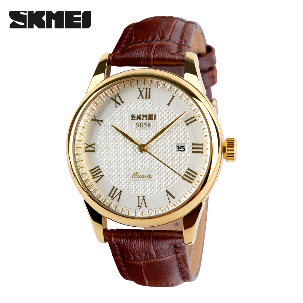 2017 New Brand SKMEI Men Fashion Quartz Watch Casual Business Date Watches Leather Waterproof Dress Wristwatches 9058