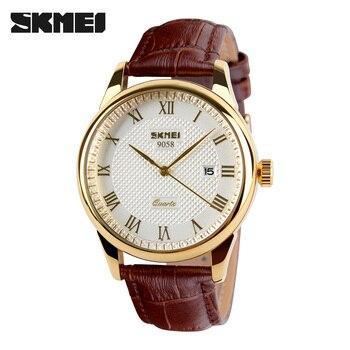 2019 New Brand SKMEI Men Fashion Quartz Watch Casual Business Date Watches Leather Waterproof Dress Woman Wristwatches 9058
