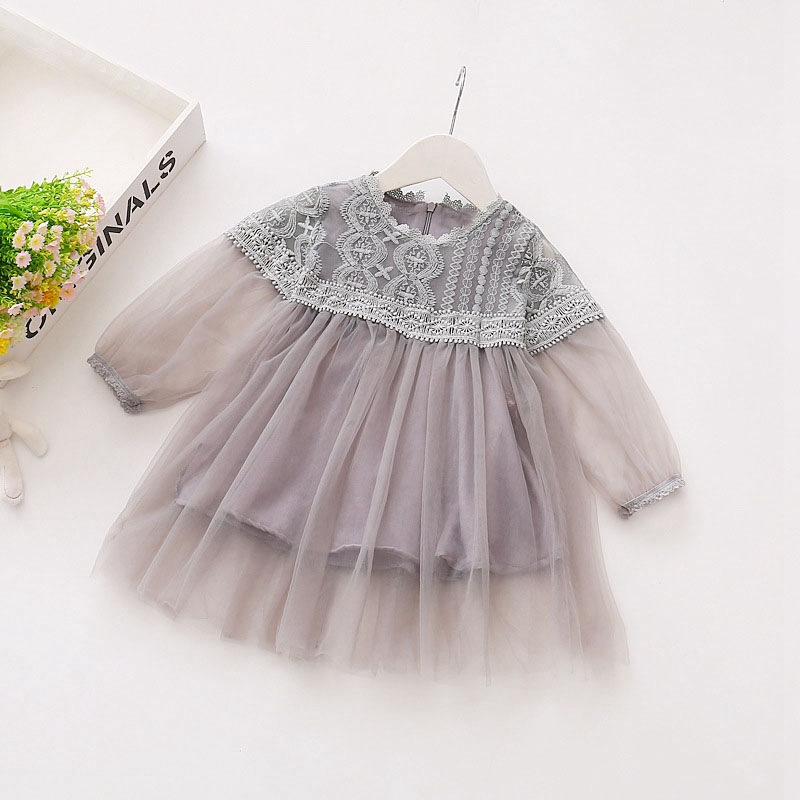 Summer Baby Girls Mesh Long Sleeve Patchwork Lace Flower Ball Gown Tutu Dress Birthday Party Dresses