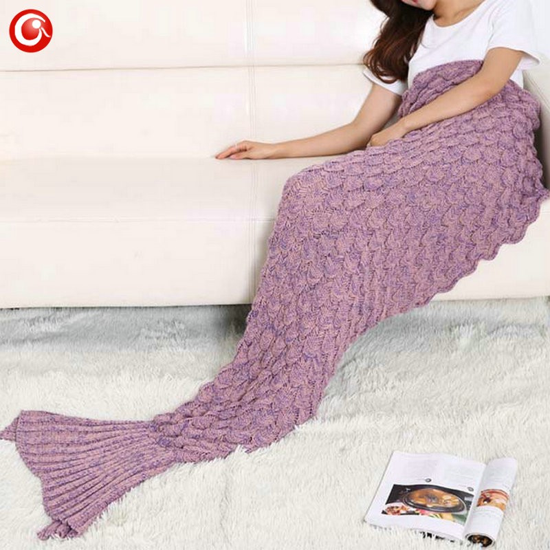Baby Knitted Crochet Mermaid Blanket For Mother&Baby Infant Newborn Handmade Bed Wrap Throw Sleeping Bag Soft (2)