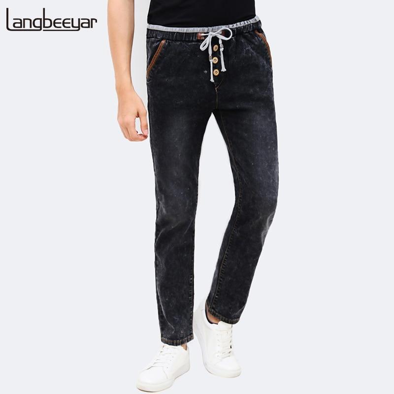 2017 New Autumn Winter Fashion Jean For Man  Brand Jean Men WashingSweatpants Button Black Pants Elastic Waist Casual Trousers