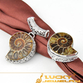 Free Shipping Women Jewelry Antique Natural Ammonite Fossil Gems Unique Pendant & Ring Set