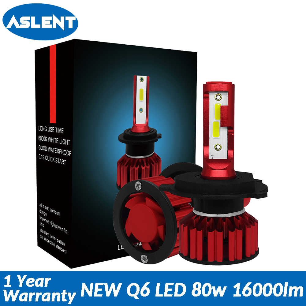 Aslent Mini Size 80W 6000K 16000lm H4 HB2 H7 H8 H9 H11 9005 9006 Anti-Emc for Car LED Headlight Cars Bulbs COB Auto Headlamp 12v