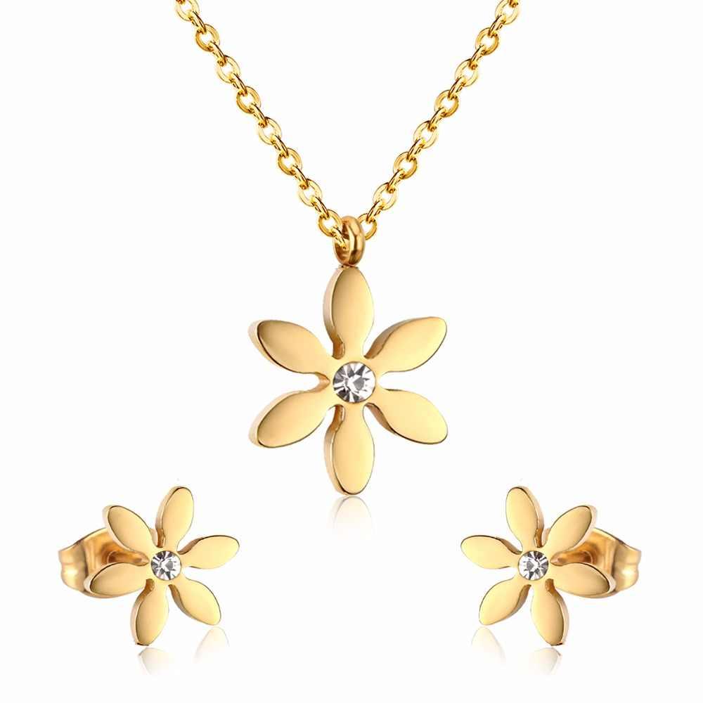 Luxkisskids offre spéciale en acier inoxydable ensembles de bijoux femmes hibou pendentifs colliers petites boucles d'oreilles ensembles de bijoux accessoires