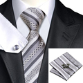 2016 Fashion Dimgray&Silver Stripe Tie Hanky Cufflinks 100% Silk Necktie Ties For Men Formal Business Wedding Party C-589