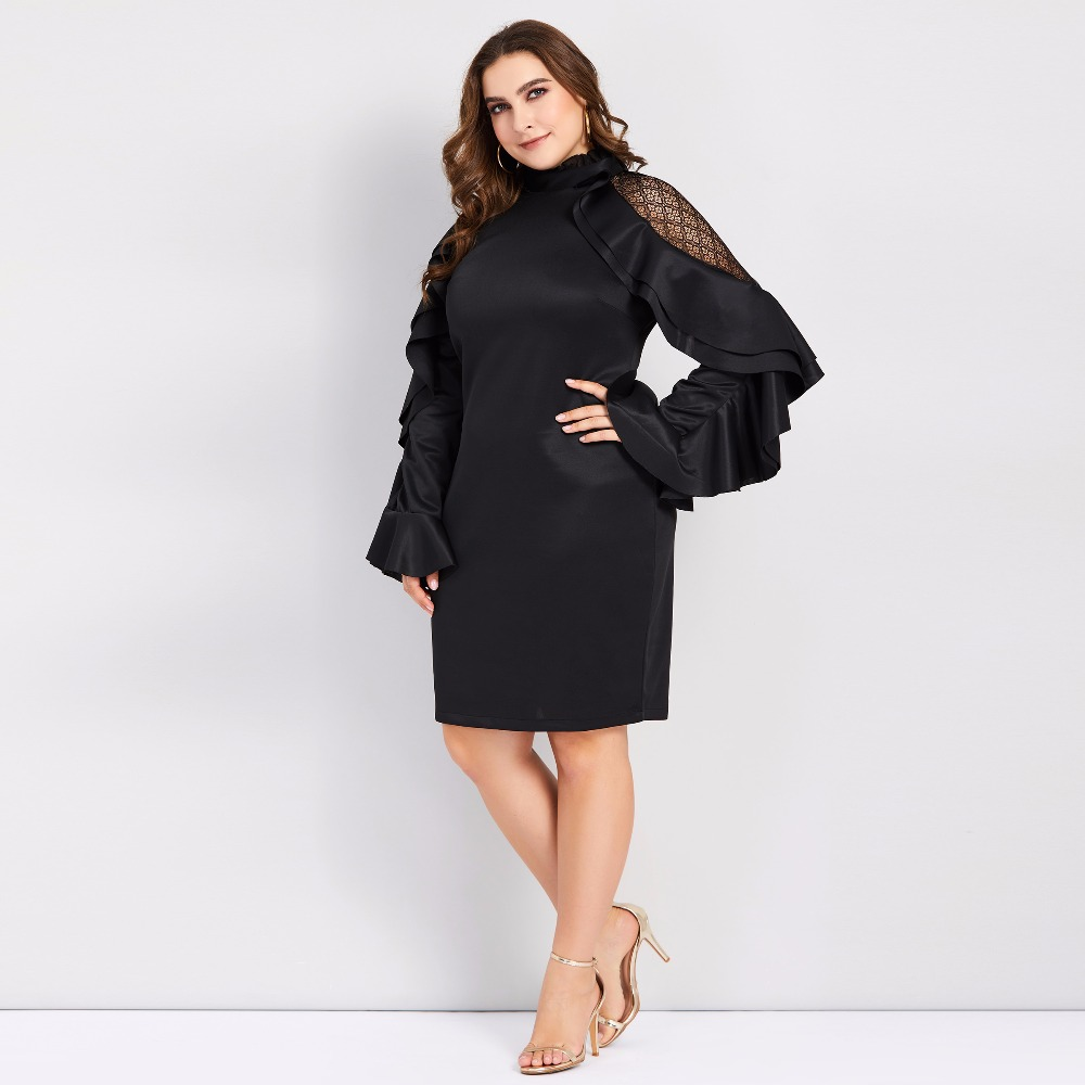 Plusee 2018 plus size 4XL women bodycon dress elegant long sleeve Falbala ruffles black large size autumn fall sexy party dress