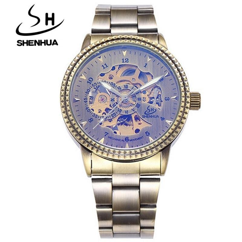 Top Luxury Brand Shenhua Watches Men Vintage Bronze Mechanical Watch Skeleton Automatic Self Wind Watch relogio