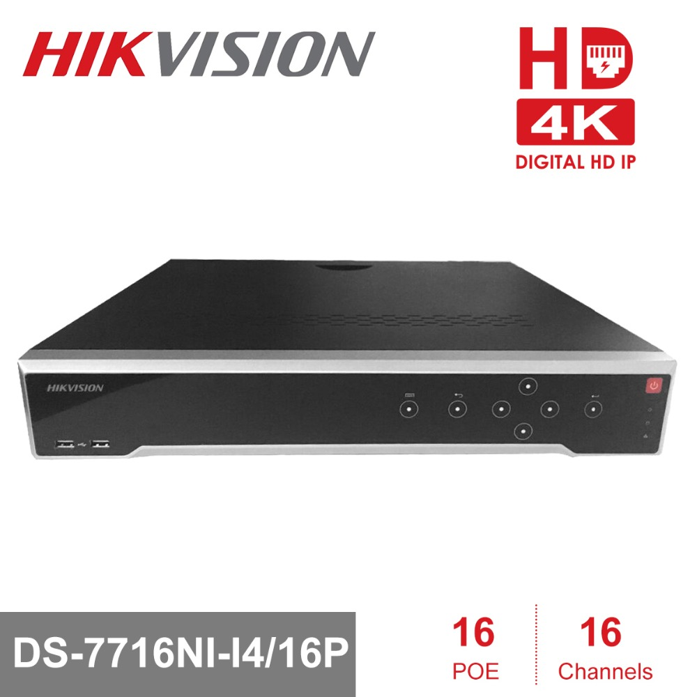 In Stock HIKVISION H.265 4K NVR 16CH DS-7716NI-I4/16P Professional POE NVR for CCTV Camera System HDMI VGA Plug & Play NVR 16ch poe nvr 16 32ch ip camera 4k technology support 12mp ipc p2p network video recorder ds 7716ni i4 16p ds 7732ni i4 16p