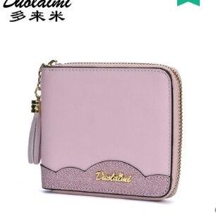 Принцесса сладкий Лолита сумка короткий кожаный кошелек для женщин корейской версии складной маленький кошелек милый кисточкой мини студе