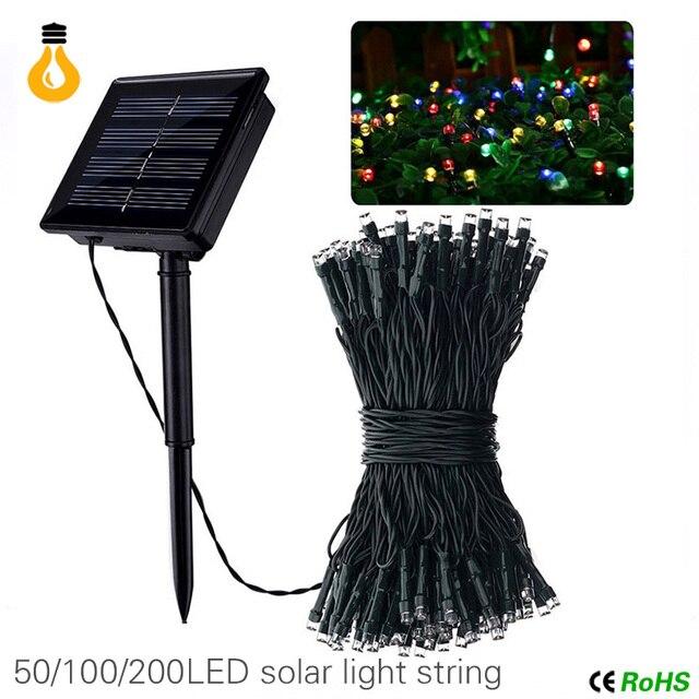 50 100 200 Led Solar Lamps String Fairy Lights Garland Christmas For
