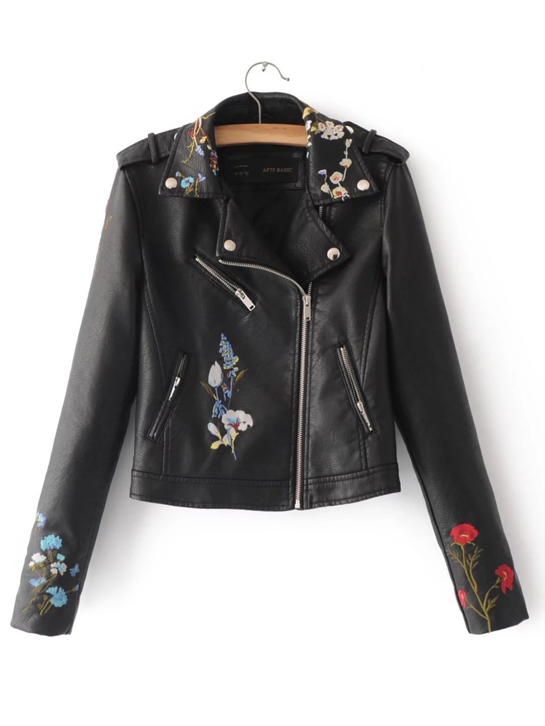 Leather jacket europe - Spring 2017 New Europe And The United States Fashion Flower Pattern Embroidery Cultivate One S Morality Pu