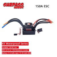 SURPASSHOBBY KK Waterproof 150A ESC Electric Speed Controller for RC 1/8 RC Car 4076 4068 Brushless Motor