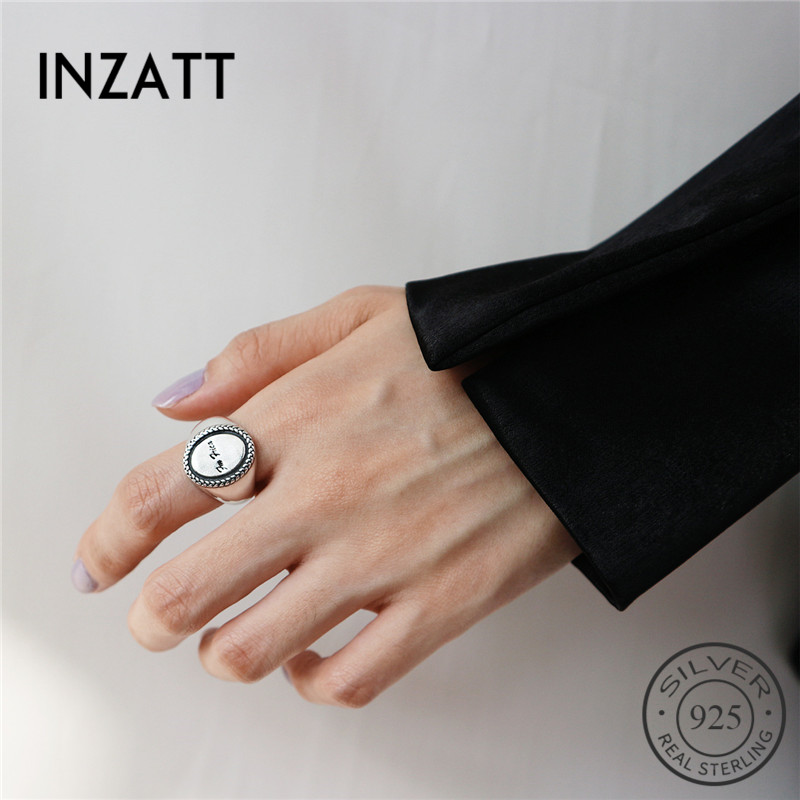 INZATT Real 925 Sterling Silver Vintage Minimalist Round Disc Letters Adjustable Ring Fine Jewelry For Fashion Women Party Gift