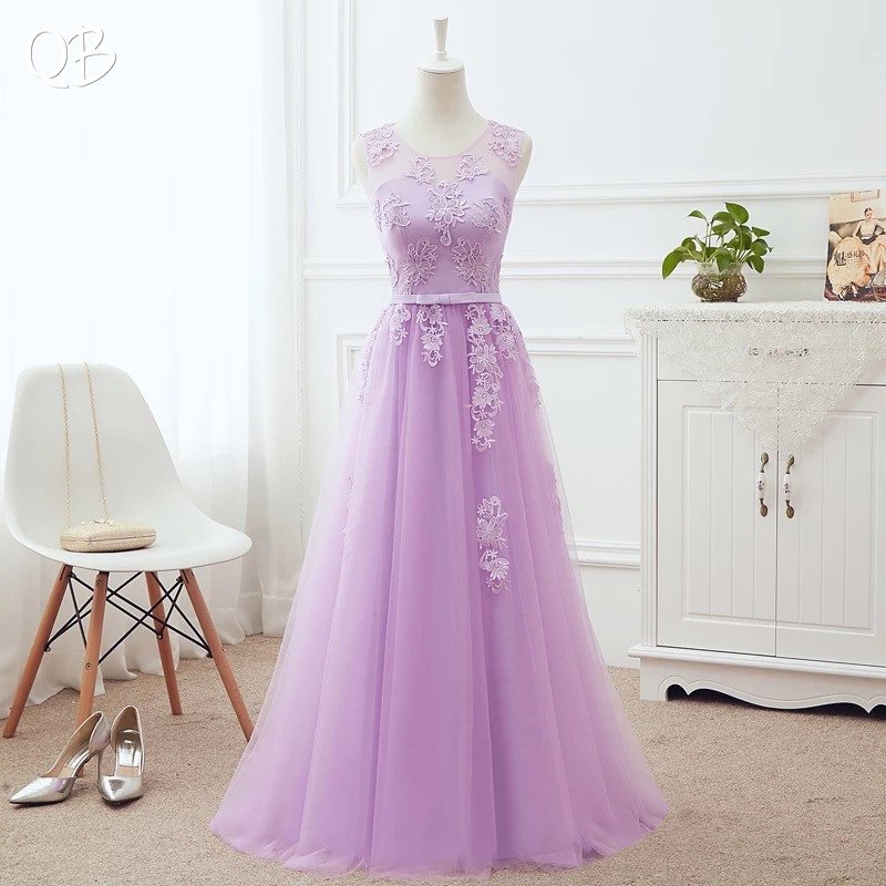 Many Colors A-line Lace Up Back Tulle Lace Bridesmaid Dresses Elegant  2020 New Long Formal Women Party Dress Gowns LA03