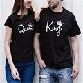 Homens E Mulheres de Verão de Manga Curta Terno T Camisa Casal Rei rainha impressão moda tamanho grande clothing 4xl preto dele e dela Tees