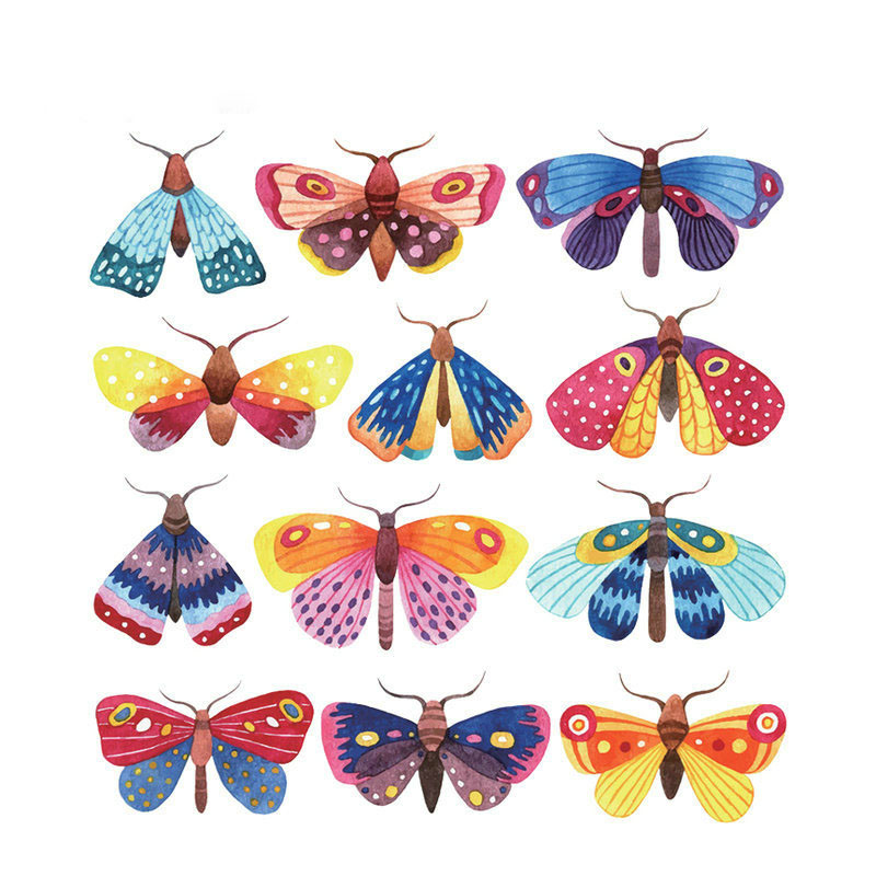 Whole Lot Butterfly Patches Gils T-shirt Dresses Sweater DIY Decoration A-level Washable Easy Print By Household Irons