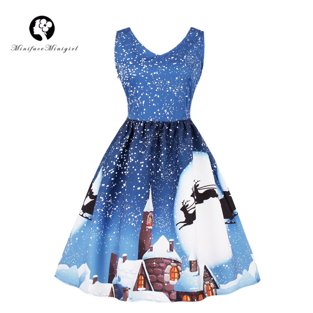 18a73d48cd Vintage Winter Christmas Dress Women V Neck Tank Sleeveless Dresses Blue  Moon Print Santa New Year Christmas Dress Plus Size 4XL