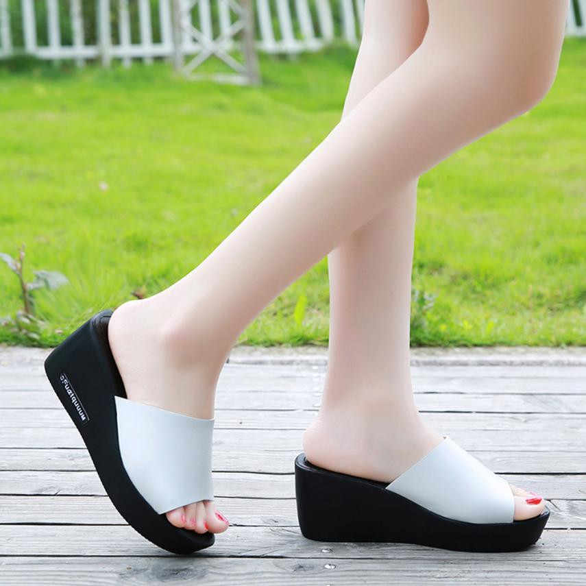 Fish Mouth Waterproof Platform Wedge Sandals Women Fish Mouth Platform High Heels Sandals Slope Slippers Slip On Shoes White Boots Shoes Uk From