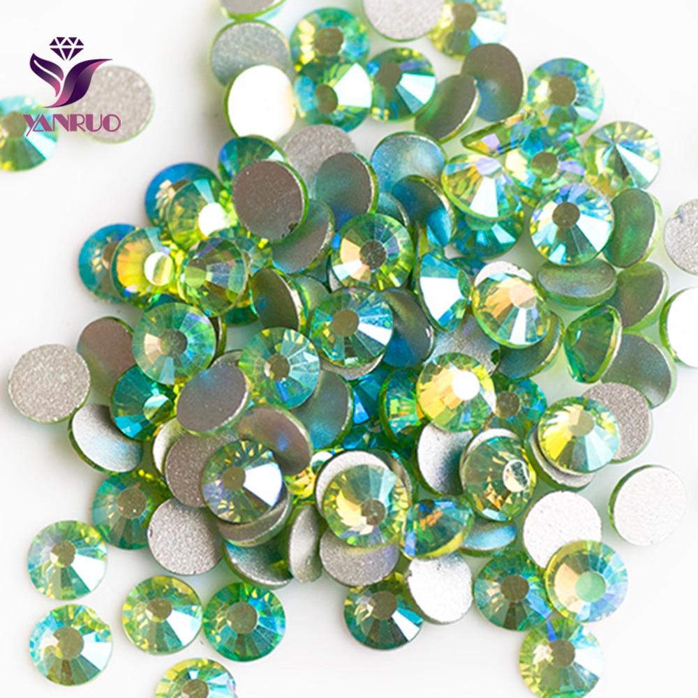 YANRUO Pridot AB (214AB) Stones Loose Glass Beads Strass Craft Dance  Jewelry Glue on Dress Flat back Crystal Rhinestones 186e81c42f91