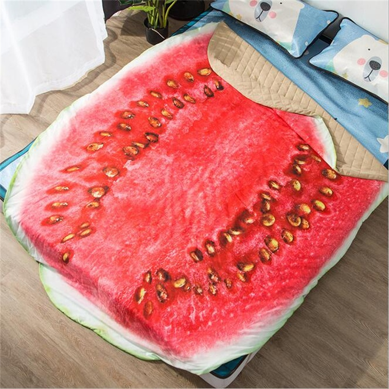 Vegetable And Fruit Apple Watermelon Irregular Summer Quilt Polyester Air Condition Blanket For Bed/Sofa Home Decor