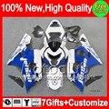 7gift  For SUZUKI GSXR 750 600 Blue white 04 05 R600 04-05 2MC855 GSXR750 K4 GSXR600 NEW Blue white GSX R750 2004 2005 Fairing