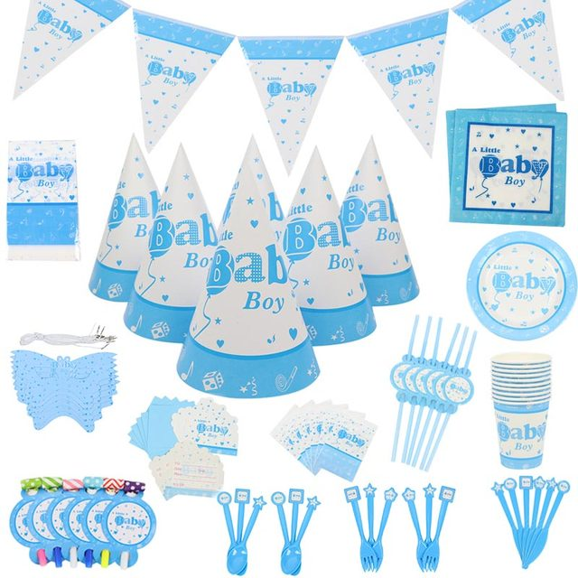 1set Baby Boys Party Decor 1st Birthday Shower Theme Paper Cup Napkins Plate Table Cloth Kids Happy Gifts Supplies