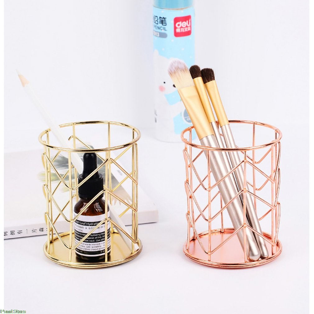 Pencil Holder Round Iron Mesh Pen Cup Stationery Organizer Makeup Brush Holder For Office Home School Desk Accessories
