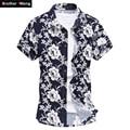 2017 Camisa do Verão dos homens Impresso Manga Curta Verão Masculino Casual Marca Shirt Grande Tamanho 4XL 5XL 6XL